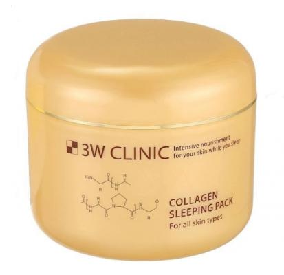 Маска ночная укрепляющая с морским коллагеном 3W CLINIC Collagen sleeping pack 100мл: фото