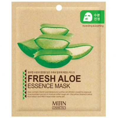 Маска для лица тканевая алое Mijin FRESH ALOE ESSENCE MASK 25г: фото