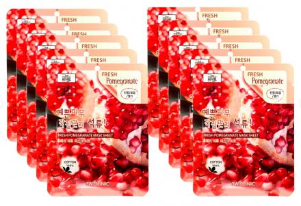 НАБОР Тканевых масок ГРАНАТ 3W CLINIC Fresh Pomegranate Mask Sheet 23мл*10шт: фото